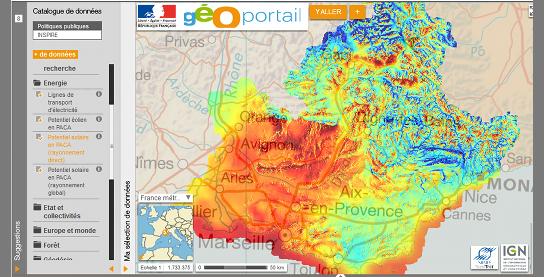 Publication de l'Atlas du gisement solaire de la région Provence-Alpes-Côte d'Azur sur le Géoportail