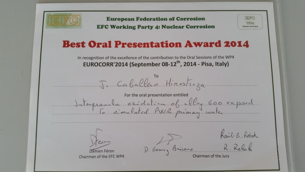 Récompense pour J. CABALLERO doctorante au Centre des Matériaux