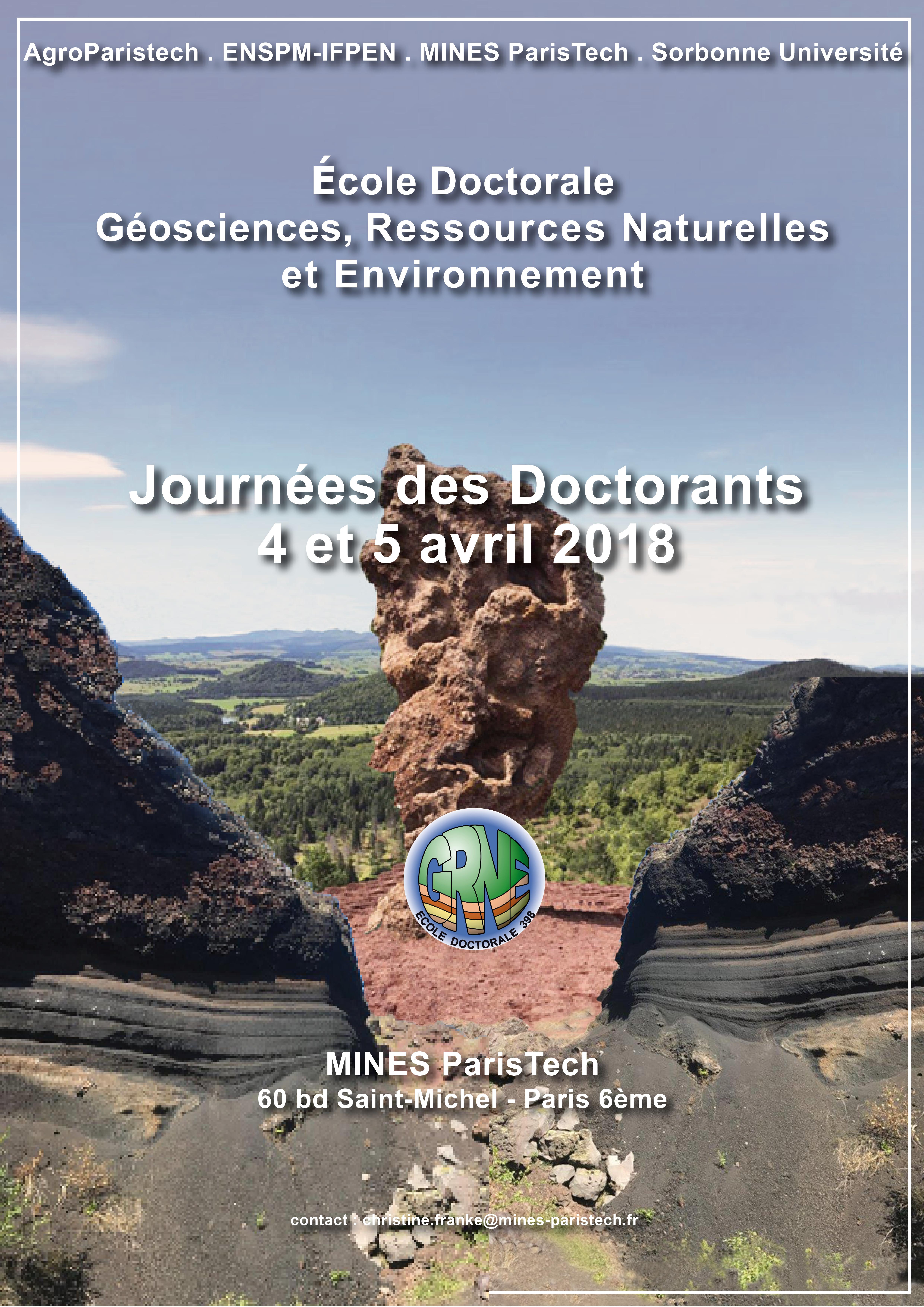 Journées des Doctorants de l'ED Géosciences, Ressources Naturelles et Environnement